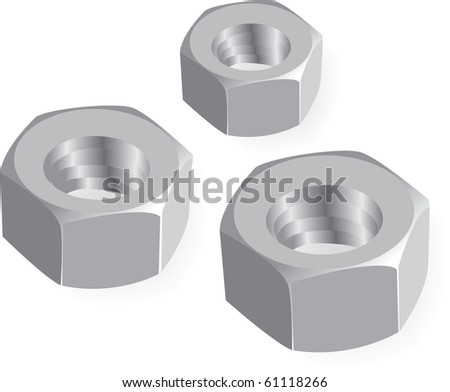 metal nuts realistic illustration - stock vector