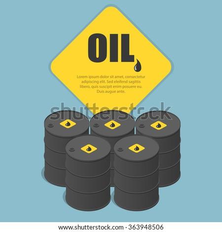 Metal oil barrel. Oil, petroleum, tank car, tanker. Oil industry business. Flat 3d isometric infographic  vector illustration. - stock vector