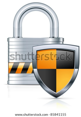 Metal padlock and two color shield on white, vector illustration - stock vector