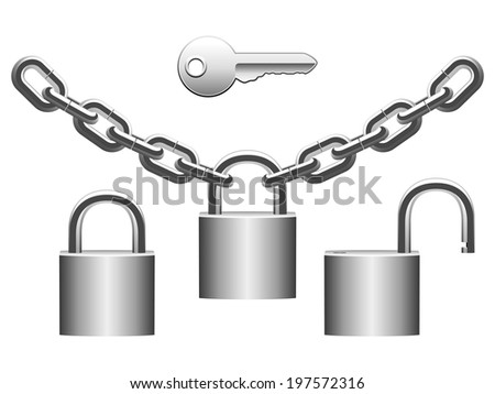 Metal padlocks, chains and key. - stock vector