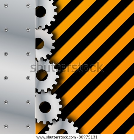 Metal plate and gears on grunge vector - stock vector