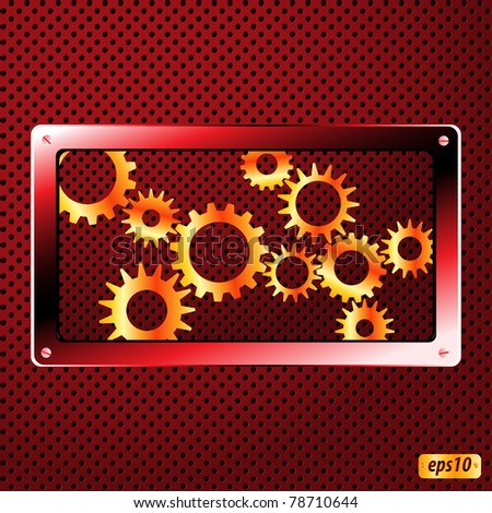 Metal plate and gears vector - stock vector