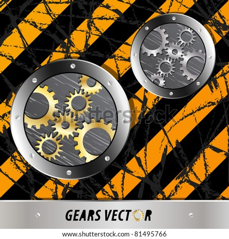 Metal plate and gears vector on dirty grunge - stock vector