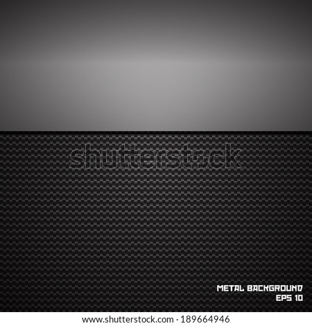 Metal plate on the carbon background. Vector.