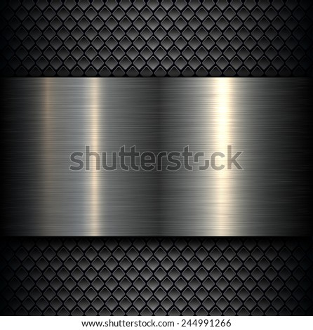 Metal plate texture on carbon fiber background, vector illustration. - stock vector