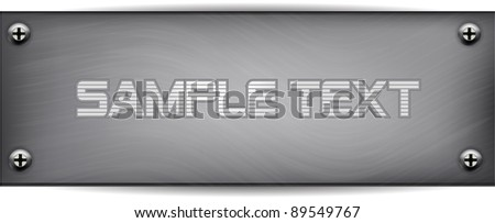 Metal plate with Screws - stock vector