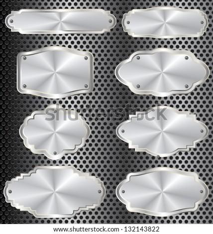Metal plates set - stock vector