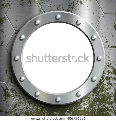 Metal porthole with rivets. Window on the a submarine. Stock vector illustration.