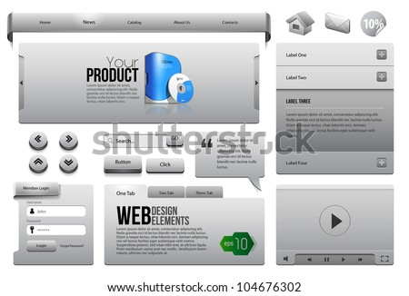 Metal Ribbons Website Design Elements 3: Buttons, Form, Slider, Scroll, Icons, Tab, Menu, Navigation Bar, Box, Accordion, Video Player, Template, Web - stock vector