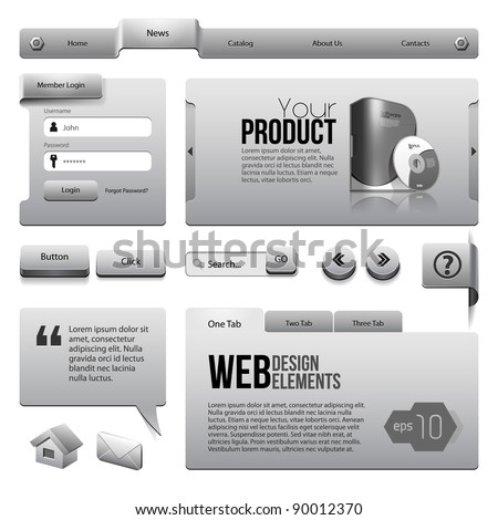 Metal Ribbons Website Design Elements: : Buttons, Form, Slider, Scroll, Icons, Tab, Menu, Navigation Bar - stock vector