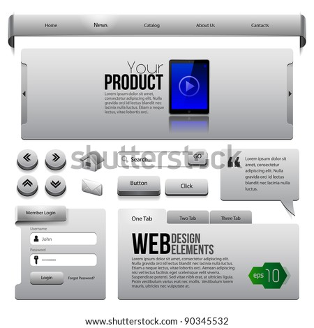 Metal Ribbons Website Design Elements 2: Buttons, Form, Slider, Scroll, Icons, Tab, Menu, Navigation Bar - stock vector