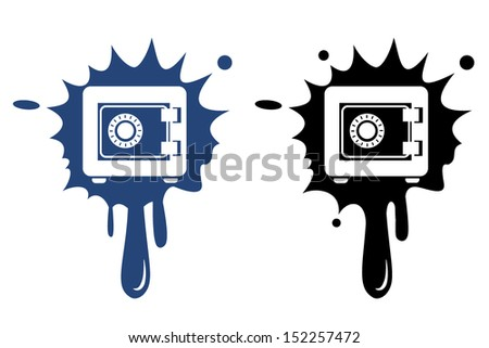 Metal Safe blue and black icon. Security concept.  - stock vector