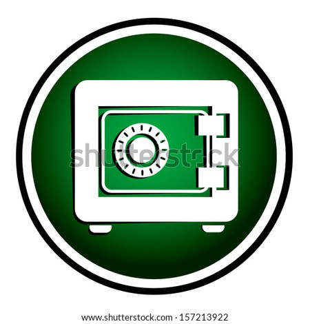 Metal safe Icon. Security concept. Green round icon - stock vector