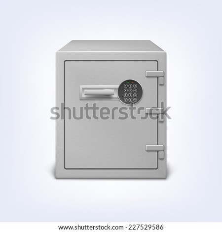 Metal safe with electronic lock, security concept icon. Strongbox, , isolated - stock vector