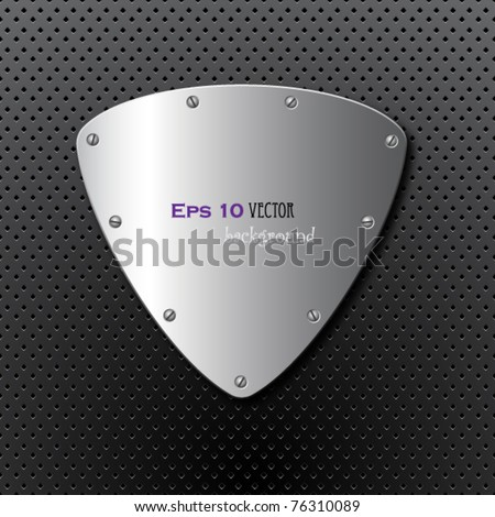 metal shield background - stock vector