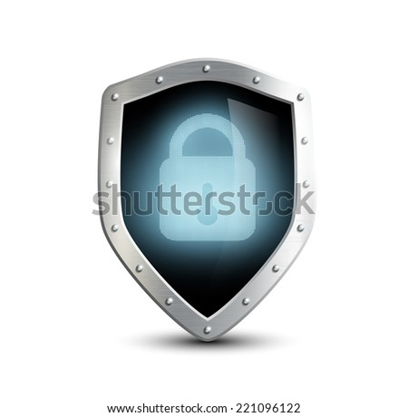metal shield with blue lock. isolated on white background - stock vector