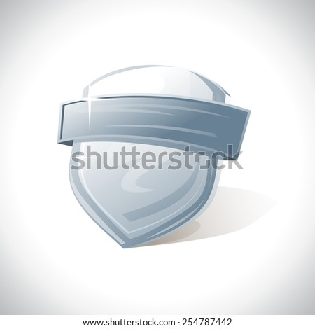 Metal shield with ribbon logo template. - stock vector