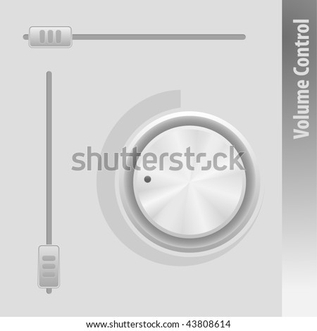 Metal Sound Control Knob and Sliders. Vector illustration.