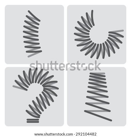 Metal springs vector icons set - stock vector