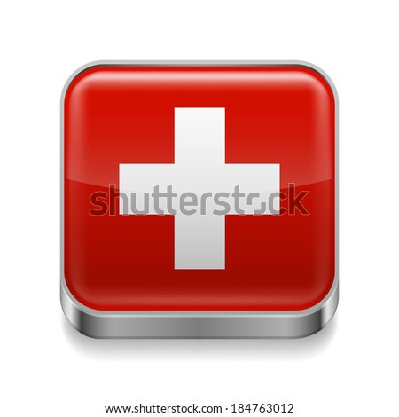 Metal square icon with Swiss flag colors