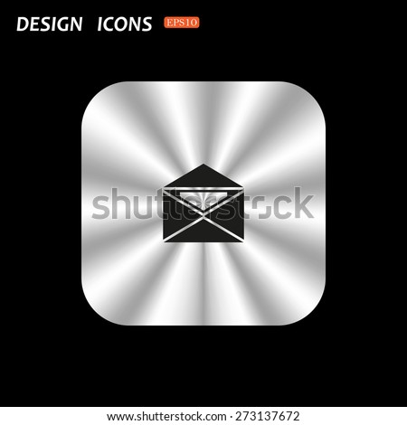 metal square with rounded corners button on a black background. open envelope with a letter. icon. vector design - stock vector