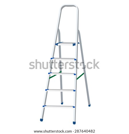 Metal step ladder vector illustration. Climbing ladder. Ladder of success - stock vector