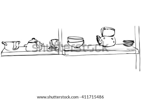 metal teapot and pan stand on a shelf