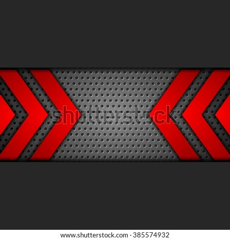 Metal tech perforated background with red arrows. Vector design - stock vector