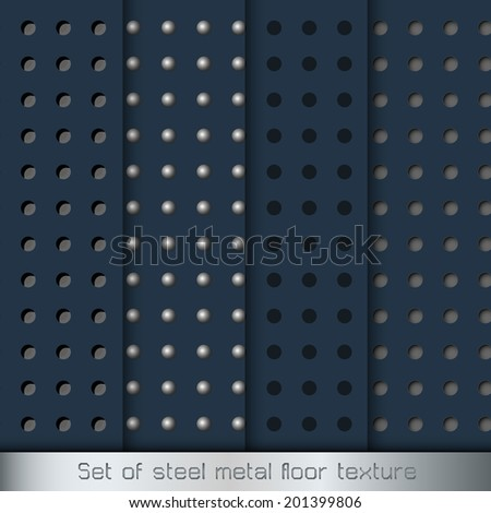 Metal Texture Backgrounds. steel floor Vector pattern set. - stock vector