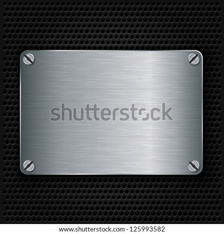 Metal texture plate with screws, vector illustration - stock vector