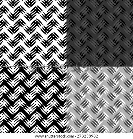 Metal texture seamless pattern set - stock vector