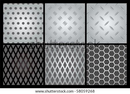 Metal texture 6 set. Illustration vector. - stock vector