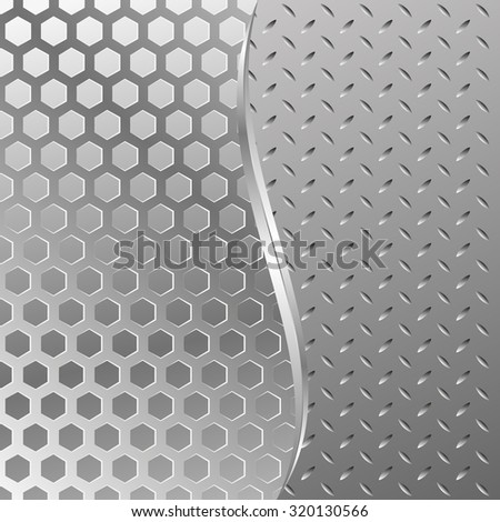 metal textured background divided into two - stock vector