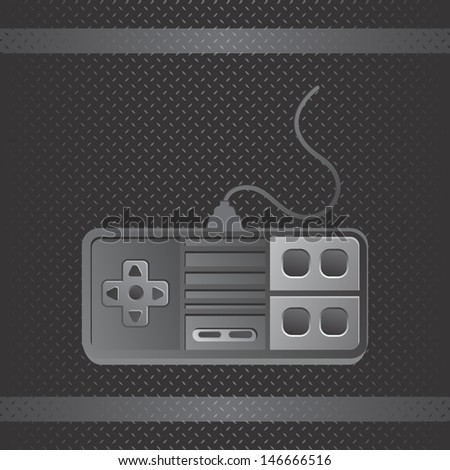 metal theme game console joystick - stock vector