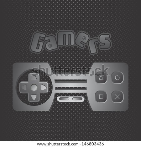 metal theme game console silver - stock vector