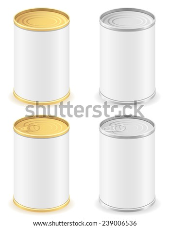 metal tin can set icons vector illustration isolated on white background - stock vector