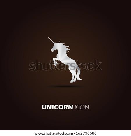 Metal unicorn icon. vector design - stock vector