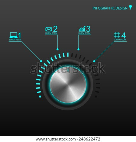 Metal volume button  for infographics - stock vector