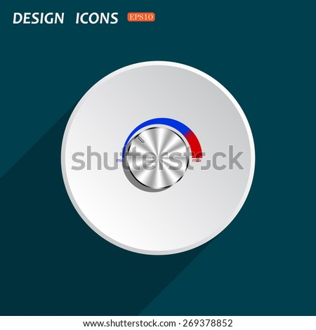 metal volume control, red, blue, light. icon. vector design - stock vector