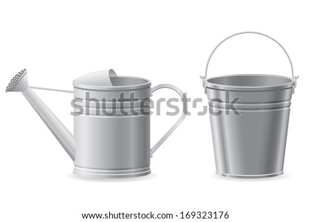 metal watering can and bucket vector illustration isolated on white background - stock vector