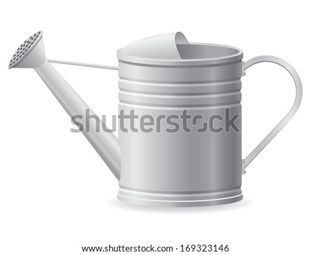 metal watering can vector illustration isolated on white background - stock vector