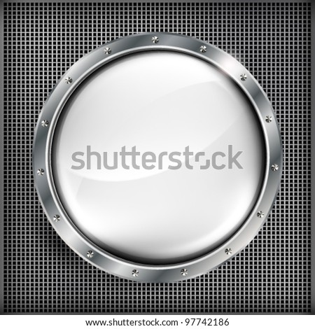 Metall banner with huge space for your message. - stock vector