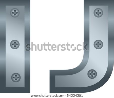 metallic alphabet - stock vector