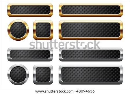 Metallic and golden buttons - stock vector