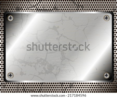 Metallic background with plate and grid for your design - stock vector