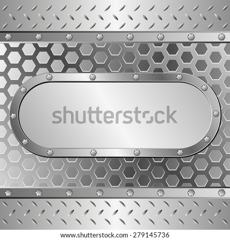 metallic background with steel plaque - stock vector