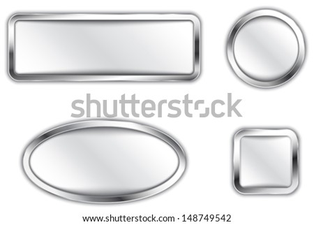 Metallic banners. Silver buttons. Icons. Vector illustration - stock vector