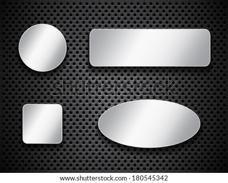 Metallic banners. Silver buttons on textured background. Icons. Vector illustration - stock vector