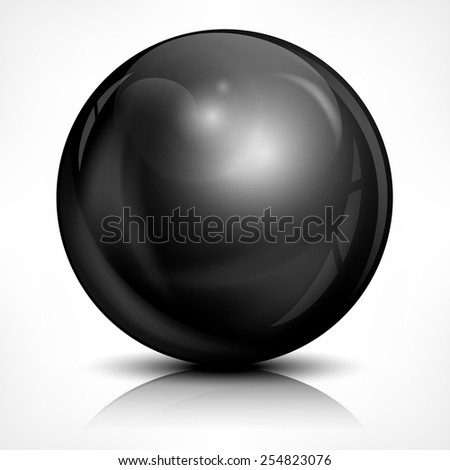 Metallic black ball on white, vector illustration - stock vector