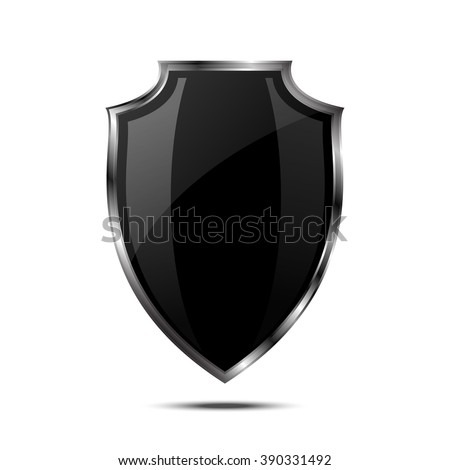 Metallic black silver shield. Vector icon isolated on white background